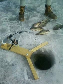 Ice fishing pole automatic hook setter. Fishing tackle for i