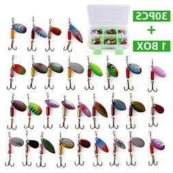 30 PCS Metal Fishing Lures Spinner Bait Attractant Hook with